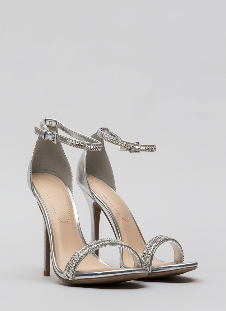All Jeweled Up Strappy Metallic Heels SILVER