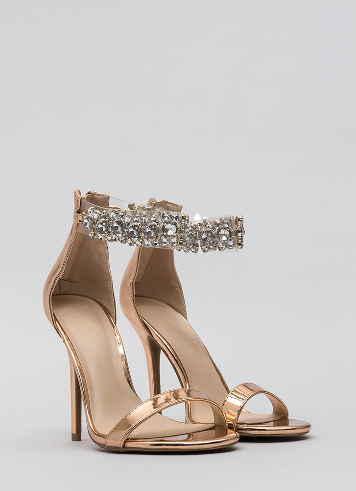 Dripping In Jewels Clear Strap Heels ROSEGOLD