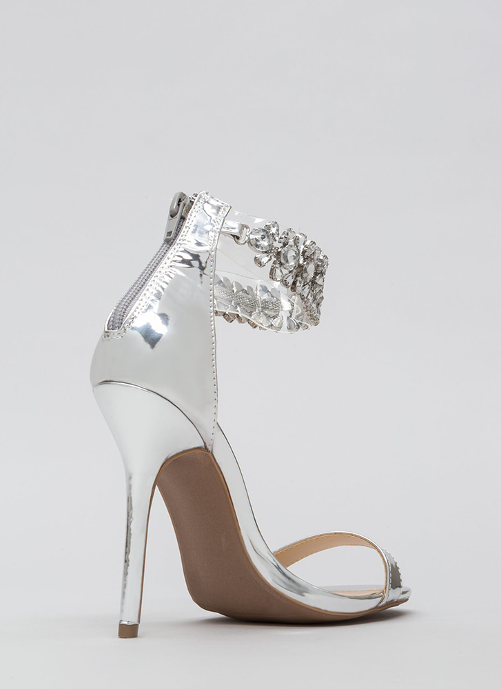 Dripping In Jewels Clear Strap Heels SILVER