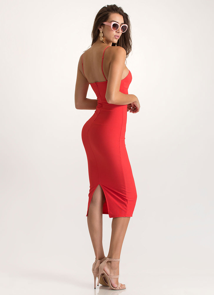 Chic Classic Bustier Midi Dress RED