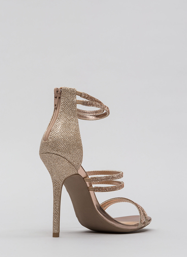 Double Your Pleasure Jeweled Heels ROSEGOLD