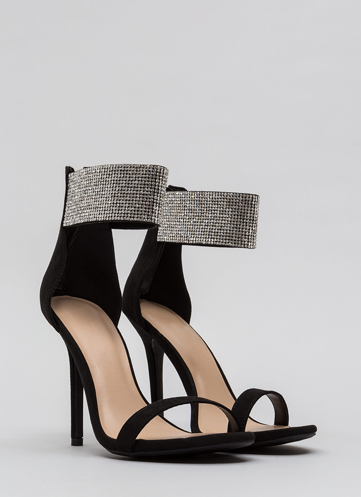 All Jeweled Up Ankle Cuff Heels BLACK