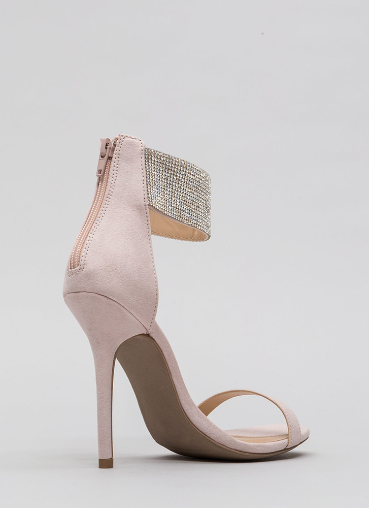 All Jeweled Up Ankle Cuff Heels NUDE
