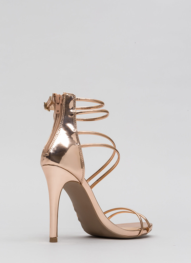 Double Or Nothing Skinny Strap Heels ROSEGOLD