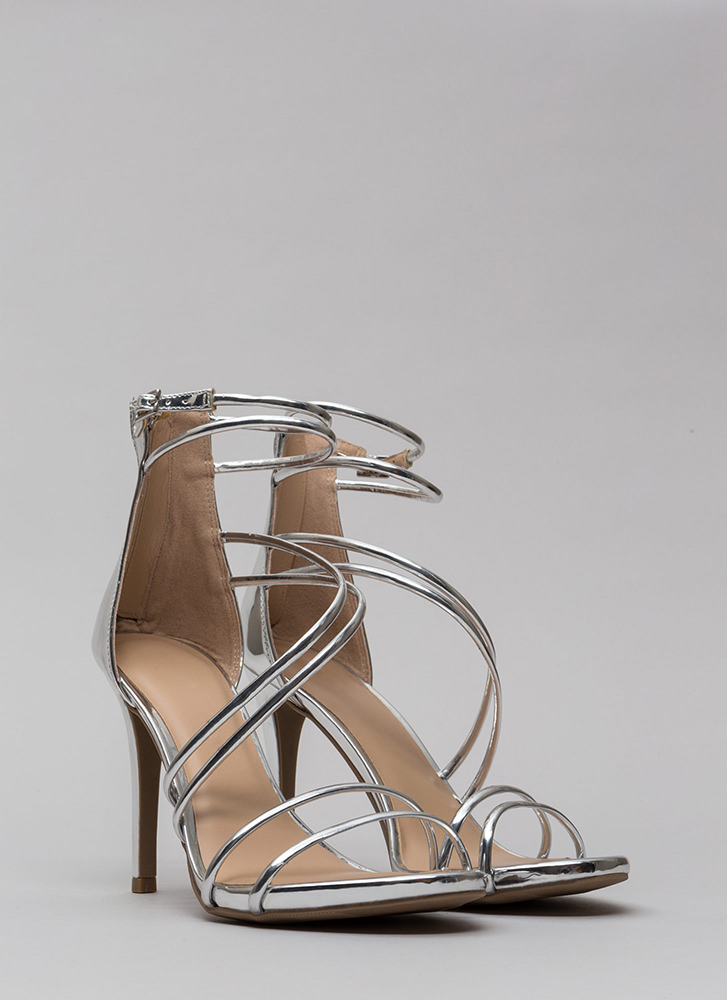 Double Or Nothing Skinny Strap Heels SILVER