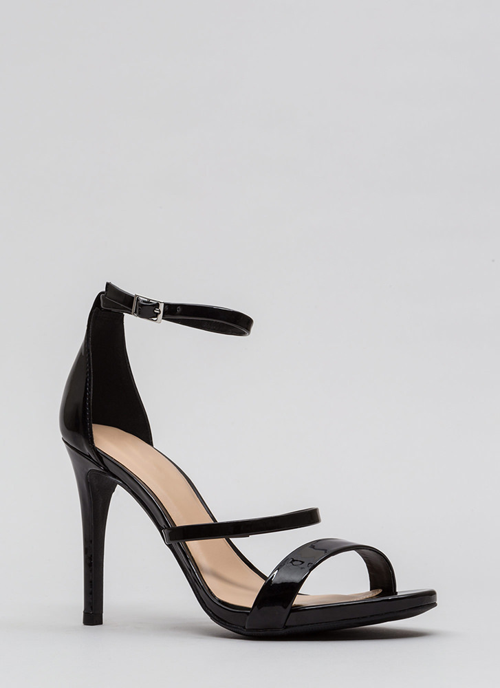 Strappy To See You Faux Patent Heels BLACK