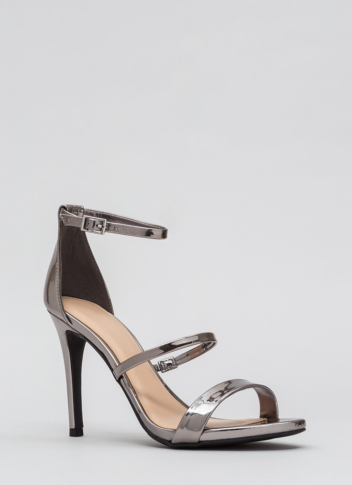 Strappy To See You Metallic Heels PEWTER