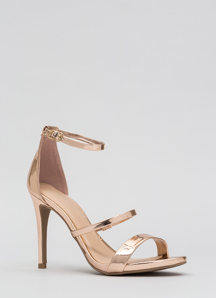 Strappy To See You Metallic Heels ROSEGOLD