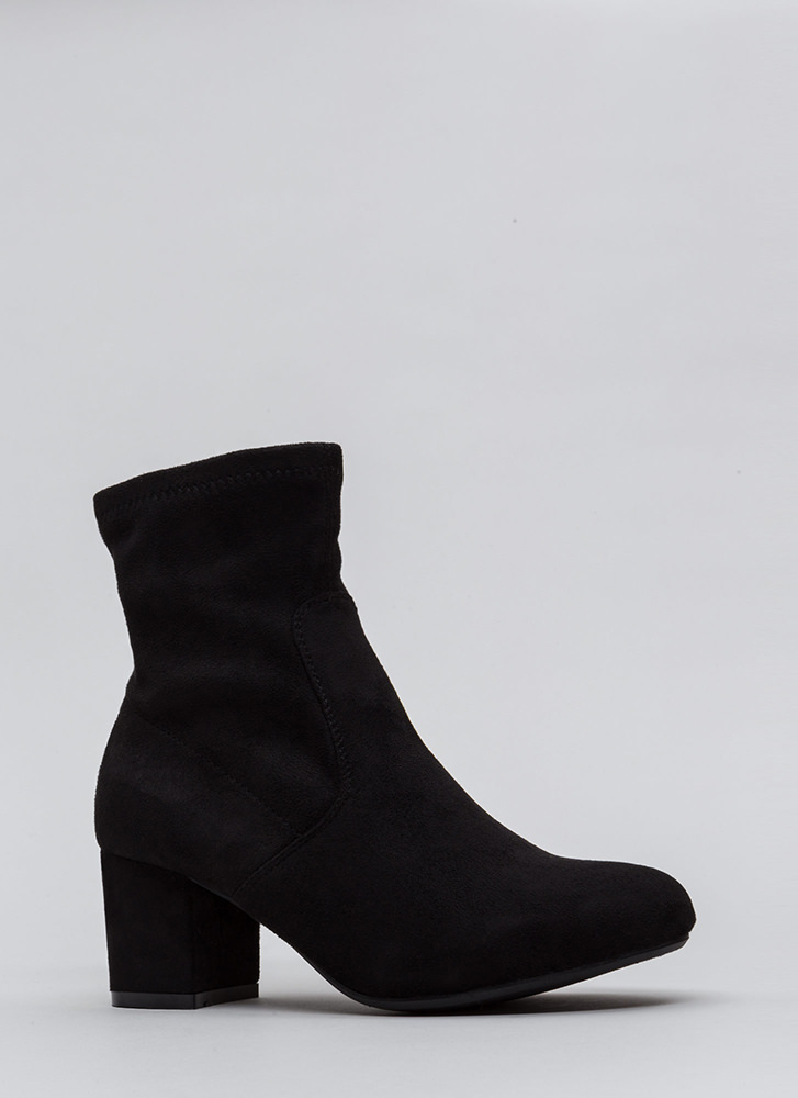 Block This Way Faux Suede Booties BLACK