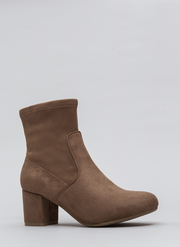 Block This Way Faux Suede Booties TAUPE