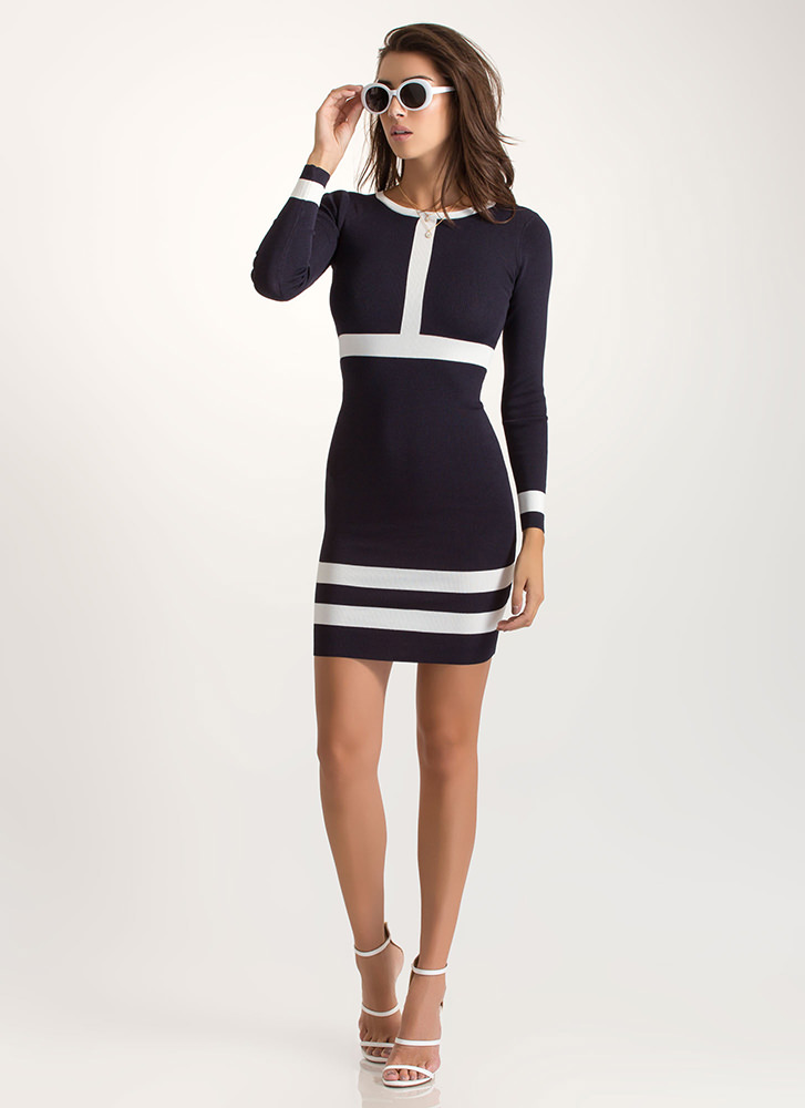 Perpendicular Move Knit Contrast Dress NAVY