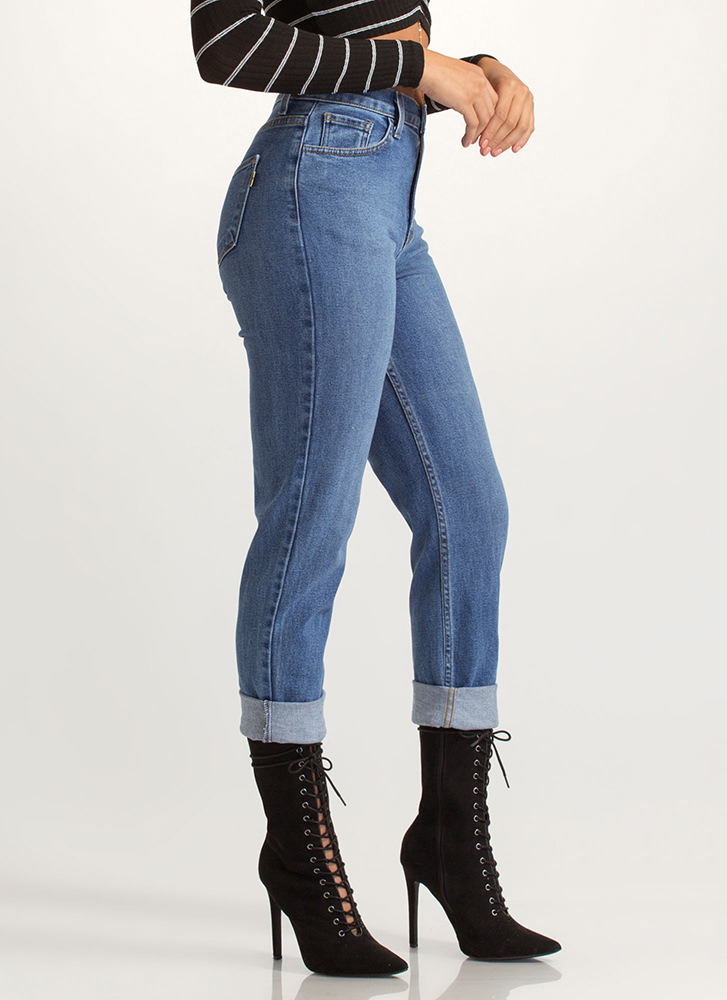 Just Say High-Waisted Boyfriend Jeans BLUE (You Saved $35)