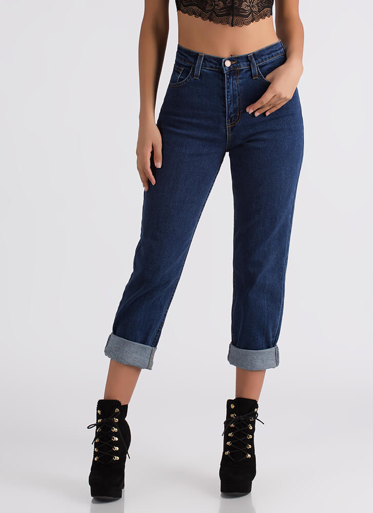 Just Say High-Waisted Boyfriend Jeans DKBLUE
