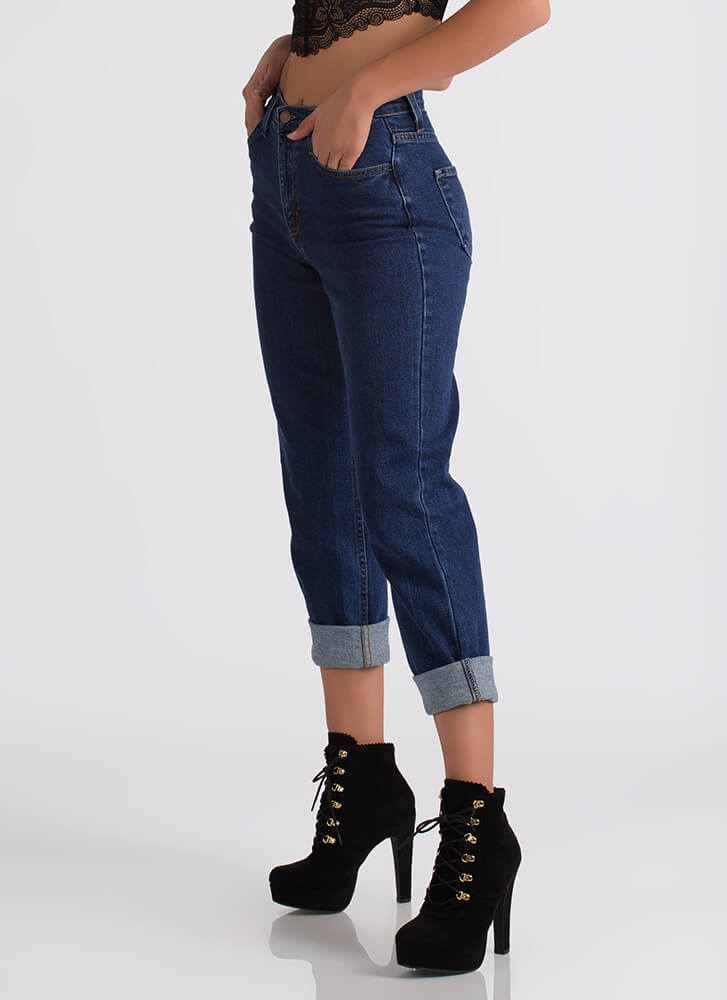 Just Say High-Waisted Boyfriend Jeans DKBLUE (You Saved $35)