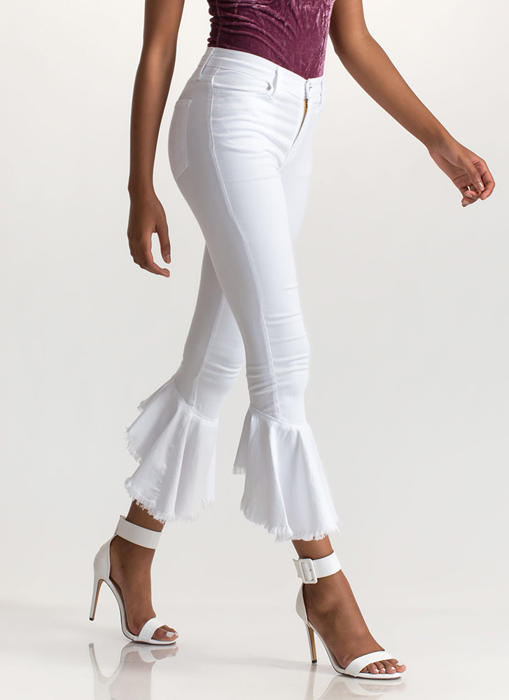 Flare Force One Ruffled Cropped Jeans WHITE