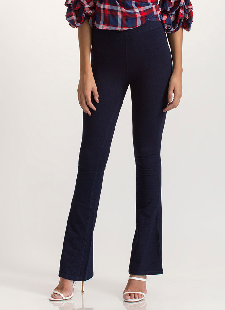 Right At Home Bell-Bottom Pants DKBLUE