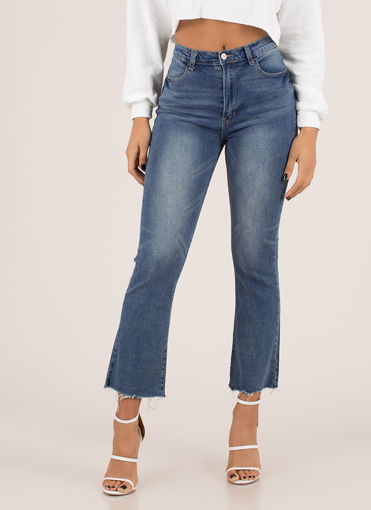 You're Cut-Off High-Waisted Jeans BLUE