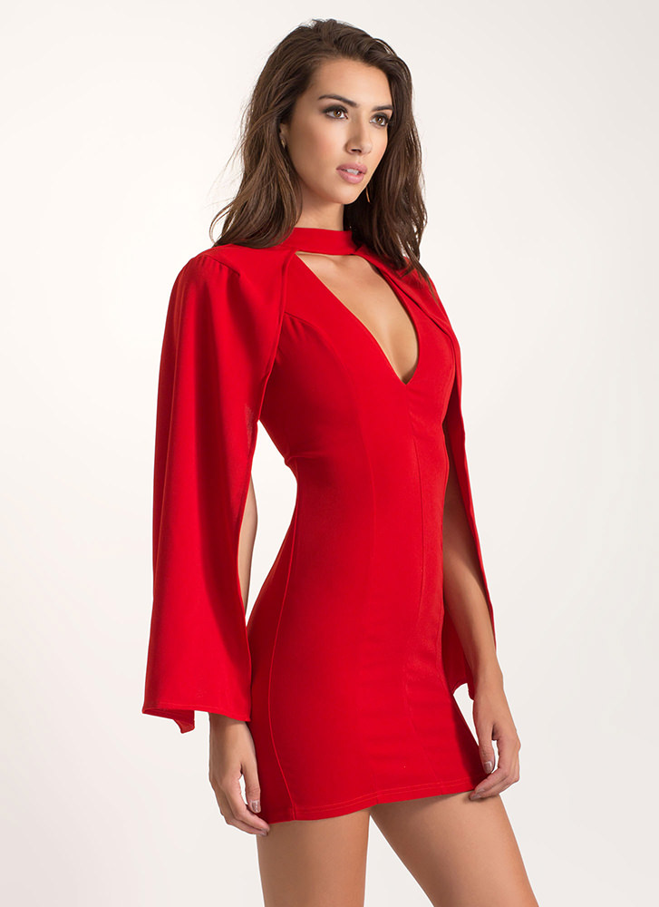 Caped Babe Plunging Mini Dress RED