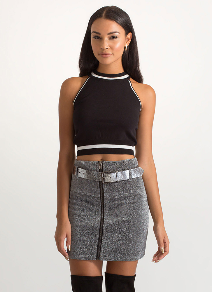 Gorgeous Lines Two-Toned Crop Top BLACKWHITE (Final Sale)