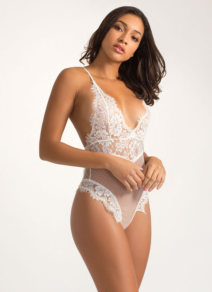 Barely There Lace And Mesh Bodysuit IVORY