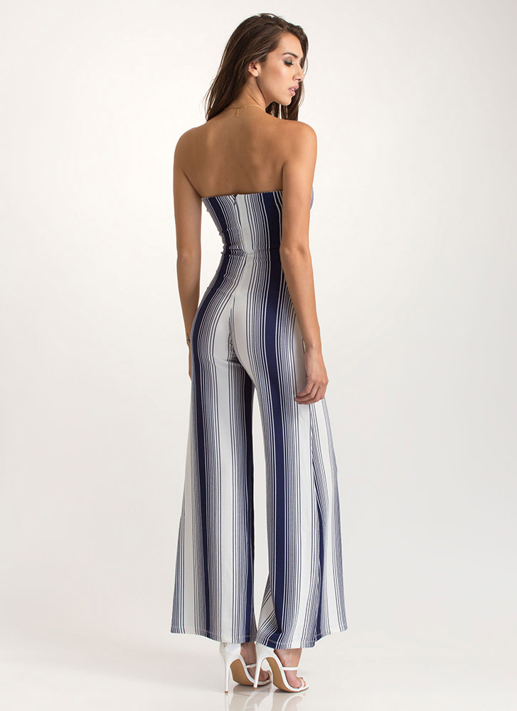 Draw The Line Strapless Palazzo Jumpsuit NAVY