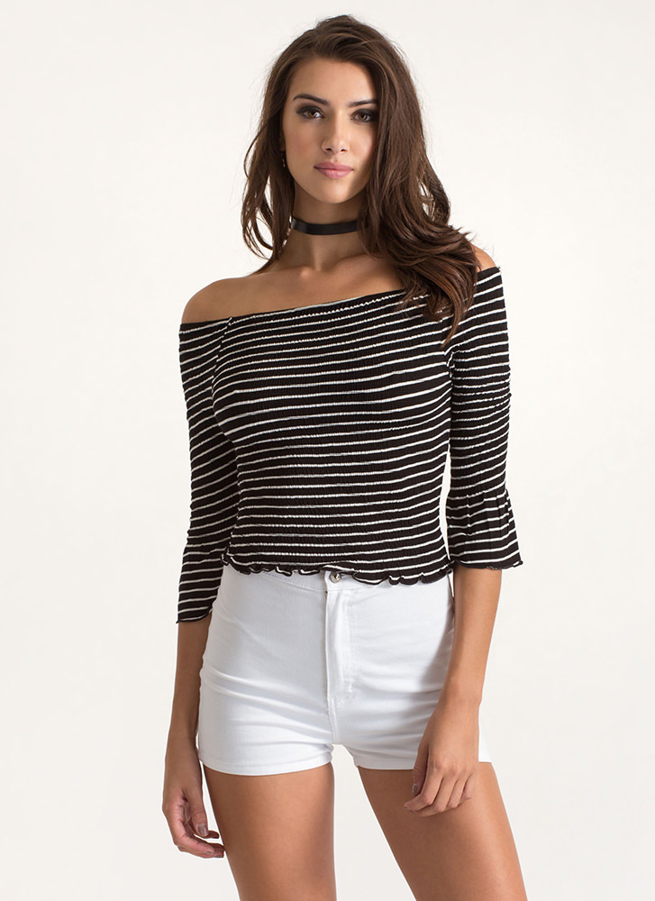 Get In Line Off-Shoulder Bell Sleeve Top BLACK