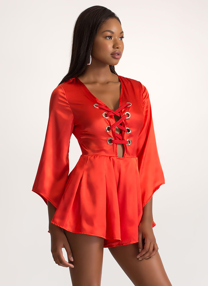 Luxe Good Satin Lace-Up Romper RED (You Saved $20)