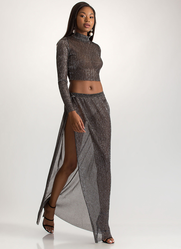 Sheer Brilliance Shiny Two-Piece Dress BLACKSILVER