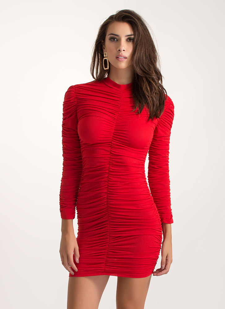 Ruche For The Win Mockneck Mini Dress RED