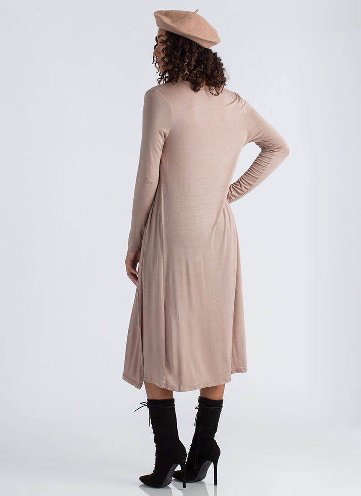 Long Story Knit Duster Cardigan TAUPE
