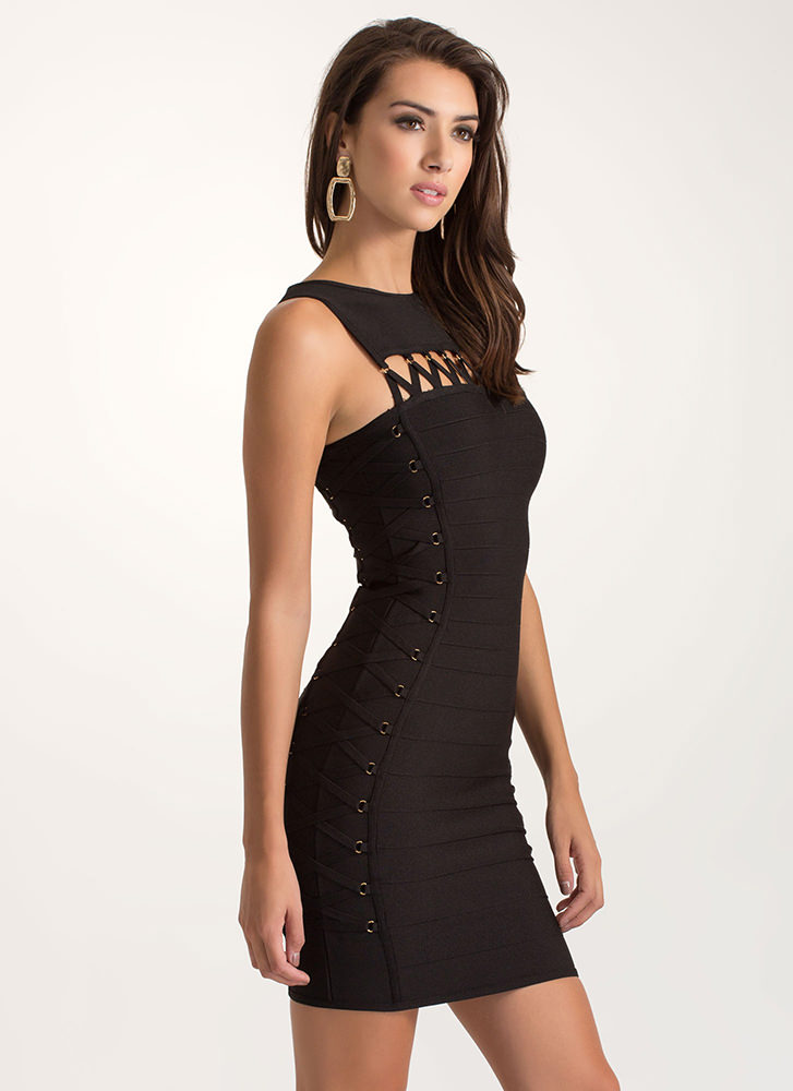 X-ray Vision Cut-Out Bandage Dress BLACK
