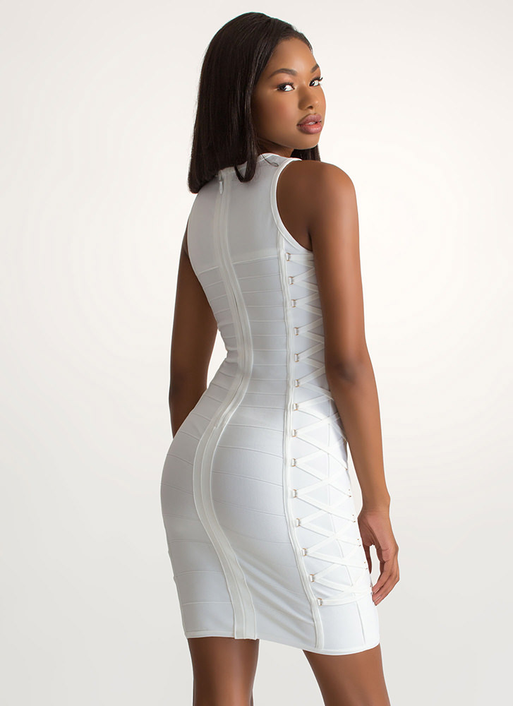 X-ray Vision Cut-Out Bandage Dress IVORY