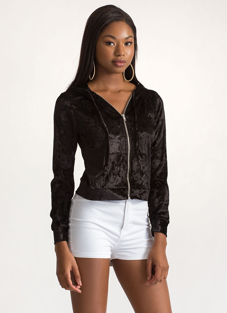 Plush Into It Crushed Velvet Hoodie BLACK