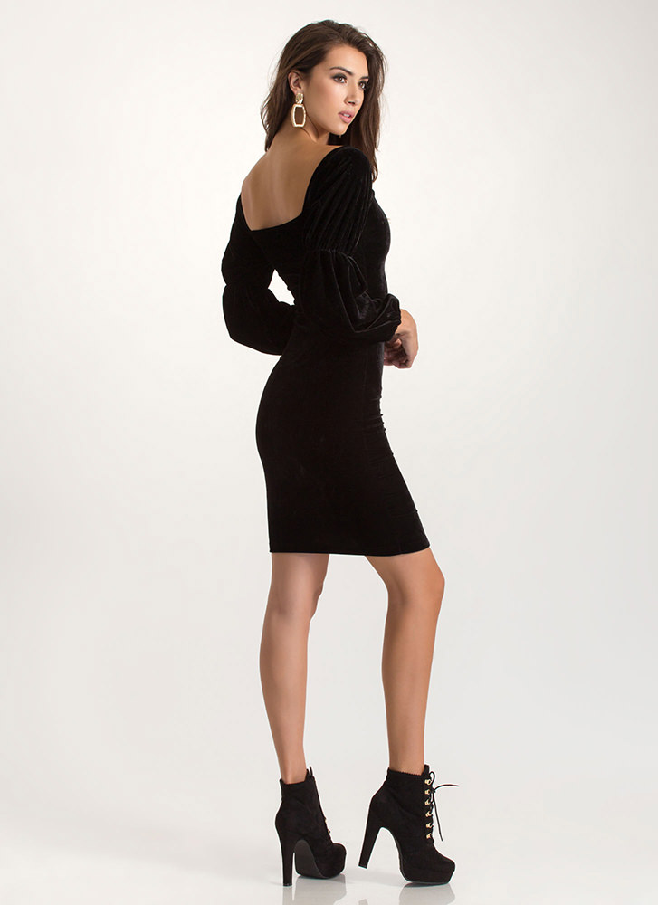 Evening Soiree Velvet Bodycon Midi Dress BLACK
