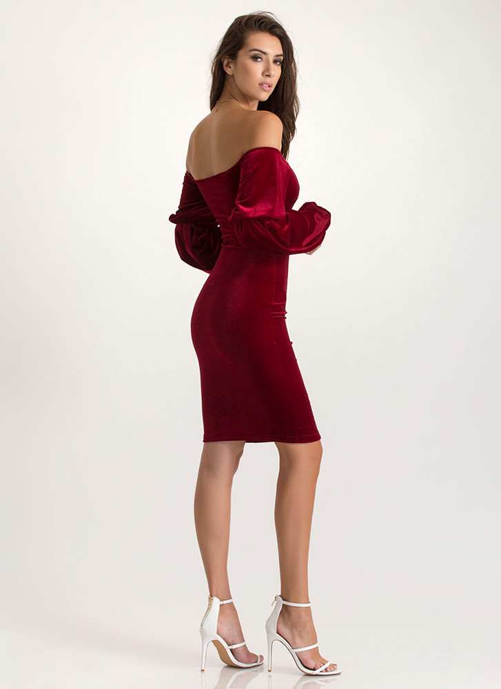 Evening Soiree Velvet Bodycon Midi Dress BURGUNDY