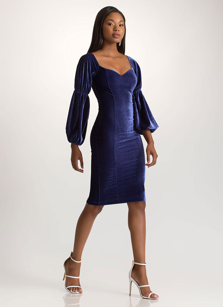 Evening Soiree Velvet Bodycon Midi Dress ROYAL