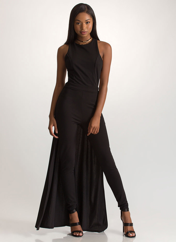 Train Of Thought Crisscross Jumpsuit BLACK