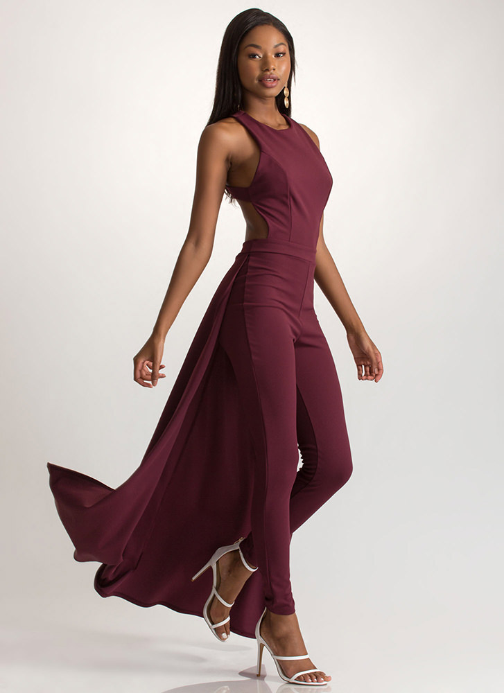 Train Of Thought Crisscross Jumpsuit BURGUNDY