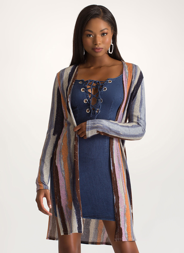 Boho Chic Double Slit Cardigan MULTI