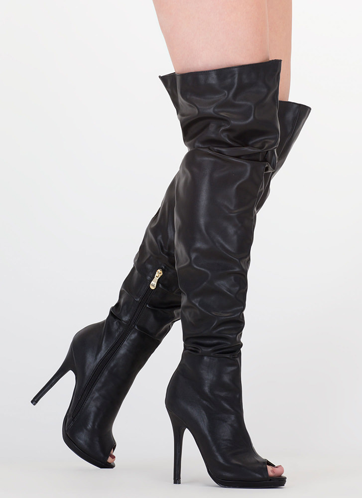 Slouch On Faux Leather Thigh-High Boots BLACK WHITE - GoJane.com 596cd04bd