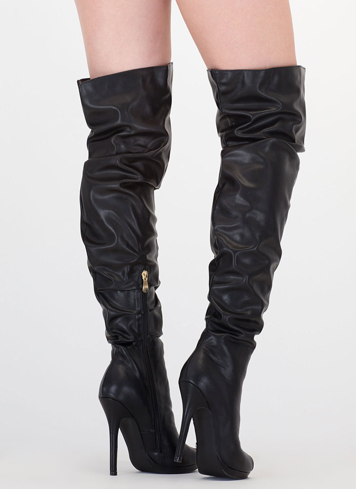Slouch On Faux Leather Thigh-High Boots BLACK (Final Sale)