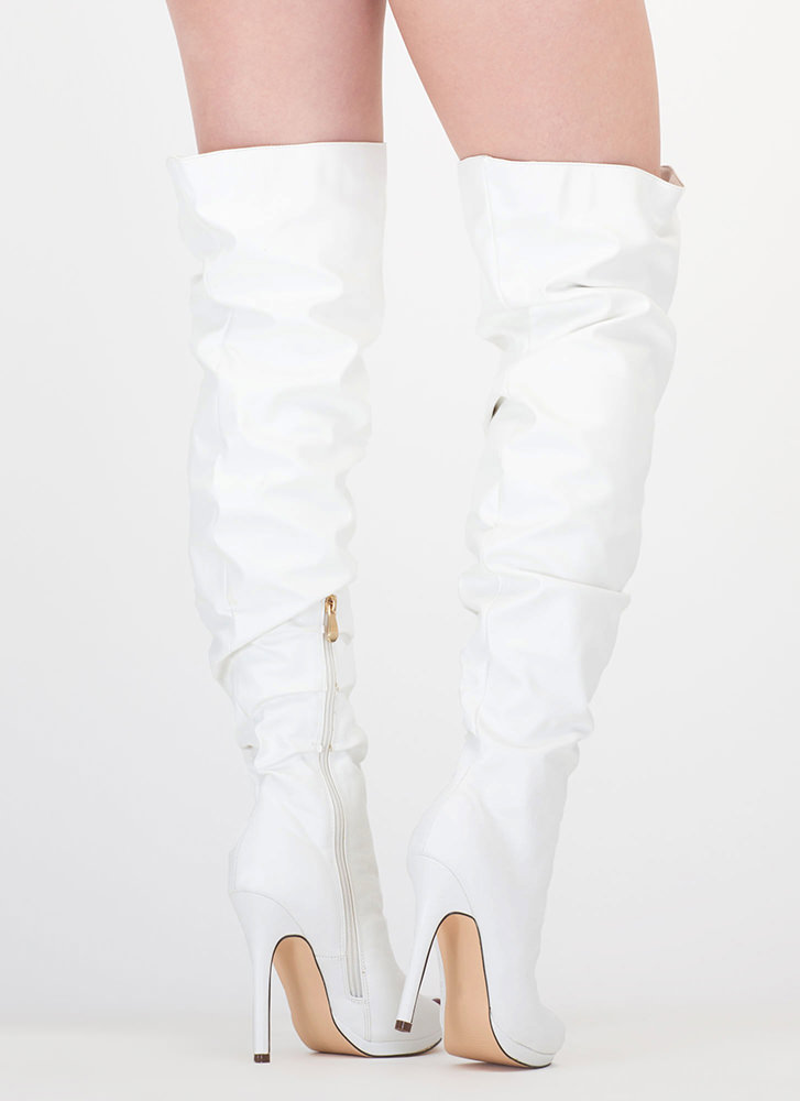 Slouch On Faux Leather Thigh-High Boots WHITE (Final Sale)