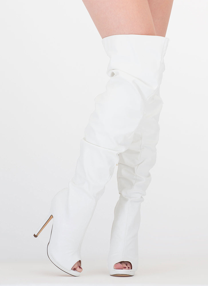 Slouch On Faux Leather Thigh-High Boots WHITE