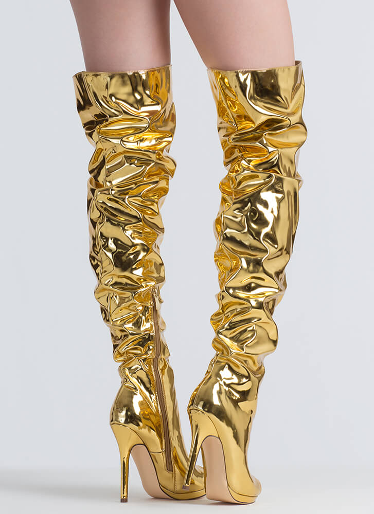 Slouch On Faux Patent Thigh-High Boots GOLD