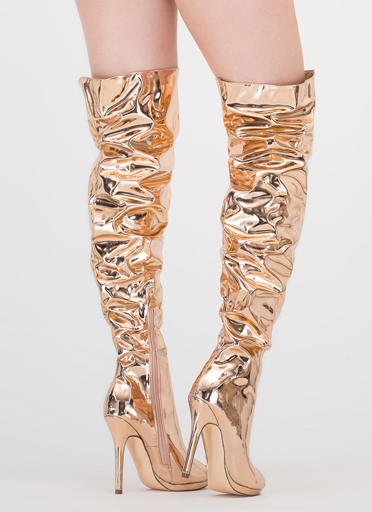 Slouch On Faux Patent Thigh-High Boots ROSEGOLD