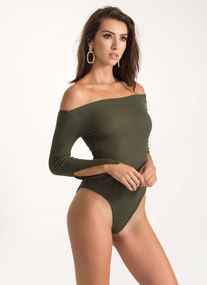 All About Slit Off-Shoulder Bodysuit OLIVE