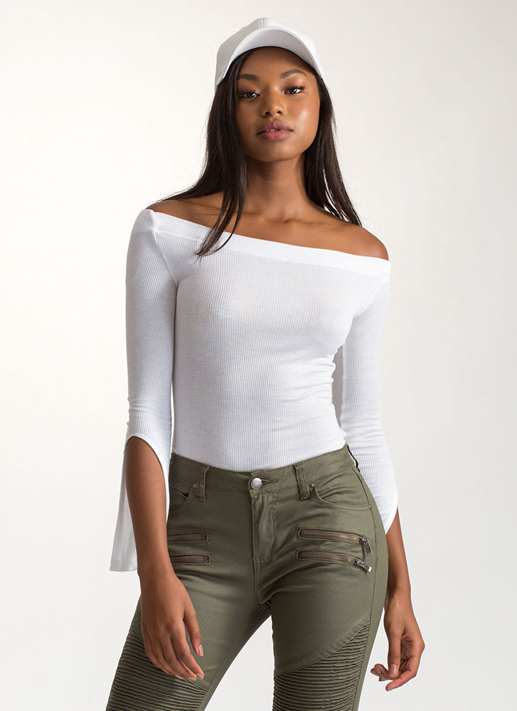 All About Slit Off-Shoulder Bodysuit WHITE