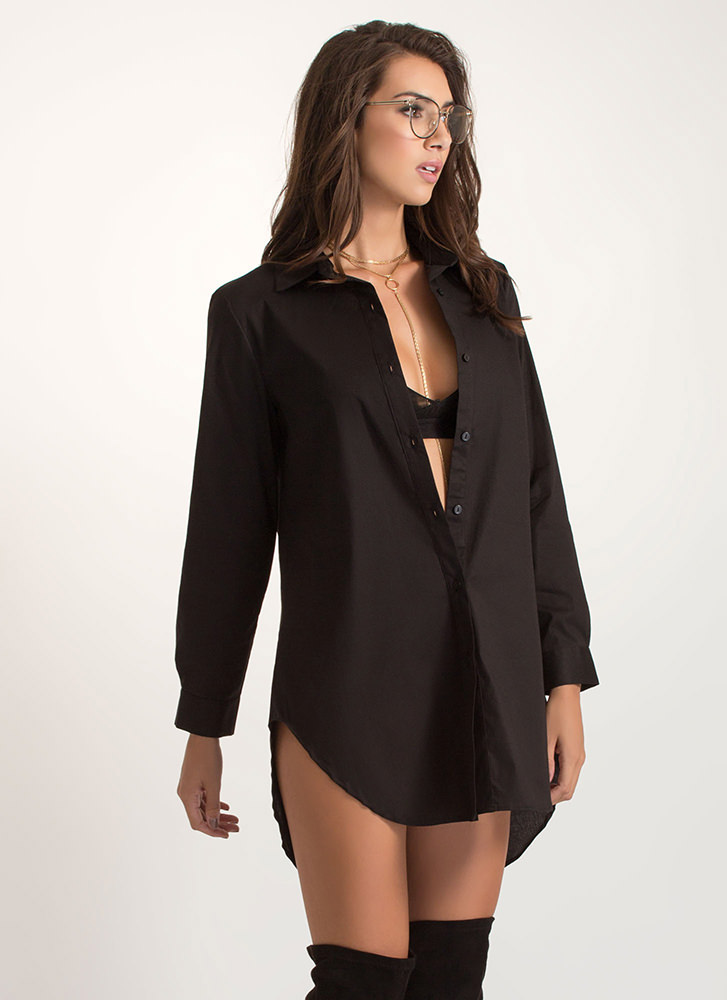 Business Or Pleasure Relaxed Shirt Dress BLACK