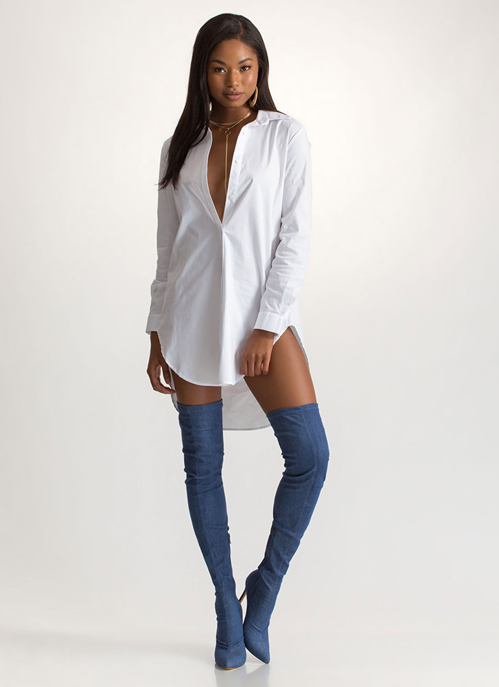 Business Or Pleasure Relaxed Shirt Dress WHITE