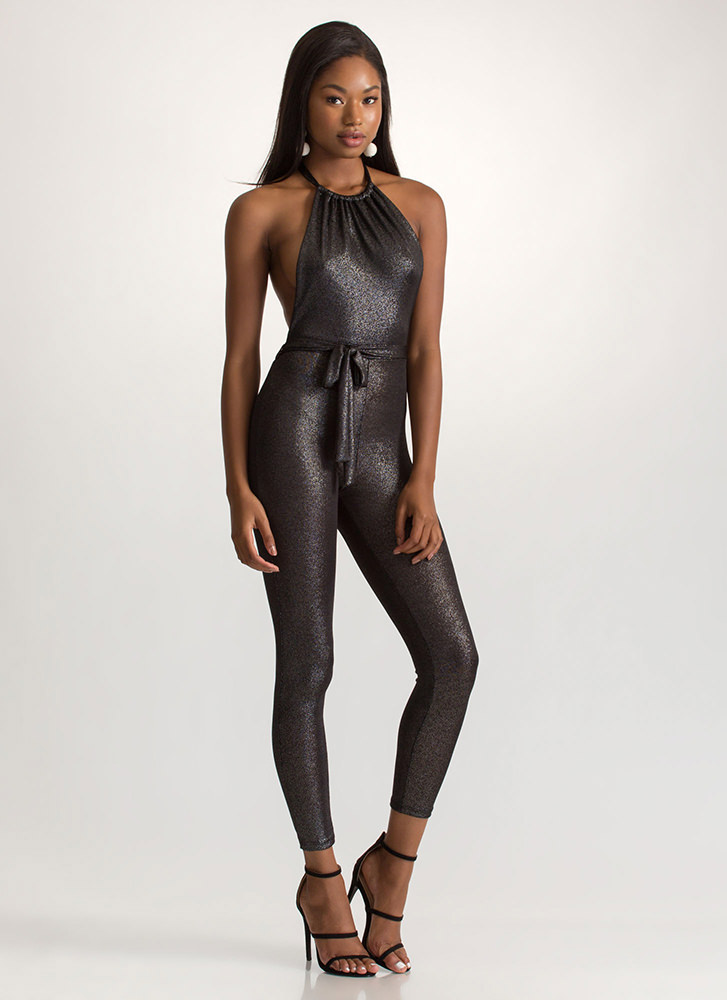 Haute Nights Out Metallic Jumpsuit BLACK